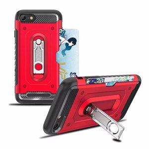 Custodia Ibrida Defender Kickstand per Iphone XR XS MAX X 8 7 6 Plastica dura + TPU 2 in 1 Custodia antiurto Armatura + Porta carte d'identità Scatola tascabile
