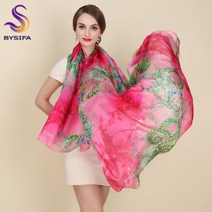 [BYSIFA] Femmes Écharpes Rose Wraps Imprimé 200 * 110cm Accessoires de Mode Longue Écharpe En Soie Cape Summer Shade Shawl Beach Cover-ups