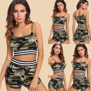2Pcs Women's Set 2018 Nuevo Casual Army Green Camuflaje Fitness / Entrenamiento sin mangas Crop Top con cordón Shorts S-XL
