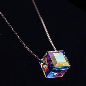 Kristal Sihirli Küp Kolye Kare kolye kolye 8 * 8mm Aurora Şeker Clavicle Zincir Takı Bildirimi kolye Noel Hediyesi
