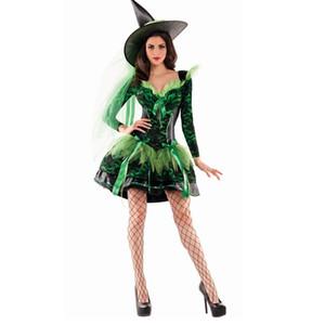 Nuevo traje de encaje verde Traje de bruja Fiesta de Halloween Disfraz de bruja Mujer Sexy actuaciones Vestido de lujo + Sombrero