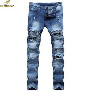Mens Skinny Biker Jeans Homens 2016 Hi-Street Ripped Rider Jeans Jeans Da Motocicleta Pista Slim Fit Lavado Moto Denim Calças Corredores