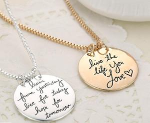 2018 Новая Мода Ювелирные Изделия Учиться Вчера Жить Сегодня Надежда На Завтра Письмо Кулон Ожерелье Подарок Для Женщин 2 Цвета