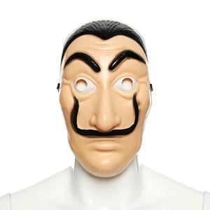 Commercio all'ingrosso 40 PZ La Casa De Papel Maschera Salvador Dali Plastica Faccia Divertente Maschera Costumi Cosplay Masque Mascara Dali Maschera