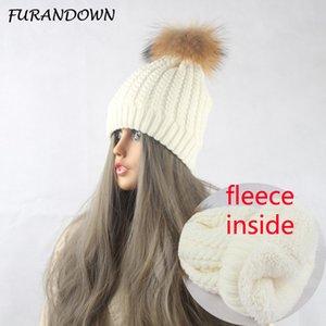 FURANDOWN Winter Warme Fleece Liner Hüte Für Frauen Echten Pelz Bommel Hut Strickmützen Kappe Weibliche motorhaube femme