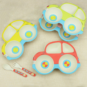 3 PCS Lovely Children's Tableware Set Baby Kids Cartoon Car Shape Plate Dish With Fork Spoon Bamboo Fiber Dinnerware Set