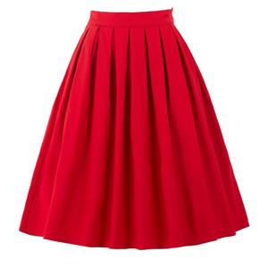 Gonna per donna Moda Faldas Estate 2017 Midi Gonne Donna Vita alta Abbigliamento da lavoro Rosso Blu Nero Jupe Femme Saias Vintage Skirt