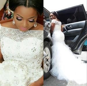2020 más el tamaño de vestidos de boda de la sirena de África rebordear Perlas Sheer Bateau cuello rizado corto Vestidos de novia mangas