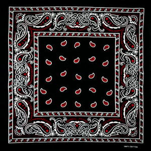 Cotton Black Bottom Red Paisley Bandana Bandane multiuso Hip-hop unisex Bandane per capelli Single Sided Head Wrap Scarf Sciarpe
