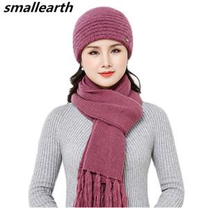 New Winter Women  Fur Hat Scarf Set Warm Wool Knitted Plush Hat Scarf Sets Crochet Bonnet Mom Cap Gifts Twist Fleece Shawl