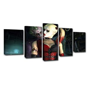 5 Painéis Esquadrão Suicida Harley Quinn Joker Movie Poster Moderna Casa Decoração Da Parede Da Lona Imagem Arte Pintura Em Tela HD de Impressão de Arte