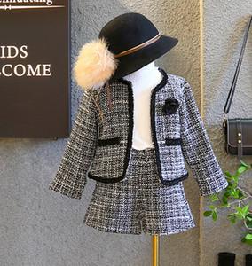 Kids plaid outfits girls rose long sleeve lattice cardigan outwear+shorts 2pcs sets lady style kids princess outfits A01101
