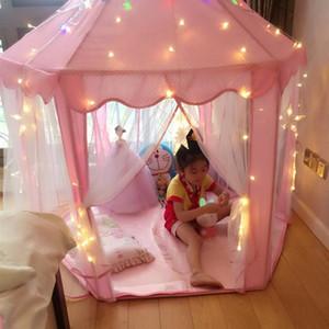 어린이 어린이를위한 사랑스러운 여자 핑크 공주 성 귀여운 극장 어린이 키즈 플레이 텐트 야외 장난감 텐트