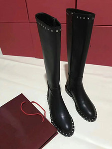 Studded Women Knight Boots Black Leather Autumn Winter Ladies Motorcycle Boots Dress Wedding Fashion Knee High Boots Rivets Female Booties