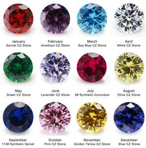 12 unids 4mm ~ 10mm Piedra de Cumpleaños 1 unids Por Colores Sueltos Redondo Cubic Zirconia CZ Piedra Sintética