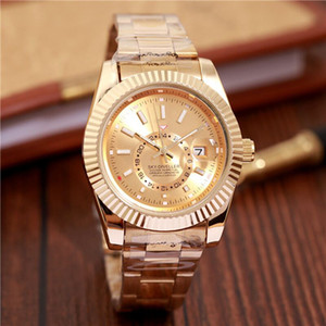 Relogio masculino mens relógios designer de moda vestido de luxo preto dial calendário pulseira de ouro dobrável fecho mestre masculino 40mm presentes casais