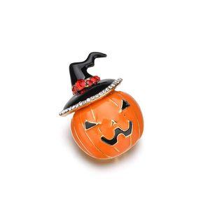 Lindo Crystal Hat Broches de calabaza para las mujeres Nuevo diseño de Halloween Brooch Pin Cartoon Pumpkin Brooches Joyería de moda