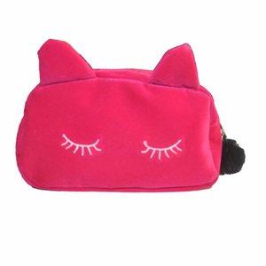 Lady Cosmetic Bag Pouch Maquiagem Bag Mulheres Cosmetic Makeup Case Organizador de Viagem Cute Cat Organizador