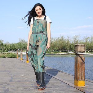 0.9mm Thick Eu37-45 Men Women Waterproof Anti-wear Waders Pants Boots Outdoor Fishing Hunting Farming Camouflage Wading Trousers