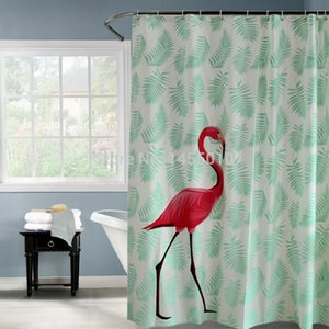 Bad Kunststoff Rot Flamingo Grüne Blätter Wasserdicht Duschvorhang Verdicken Matt Bad Duschvorhänge 180x180 cm 180x200 cm