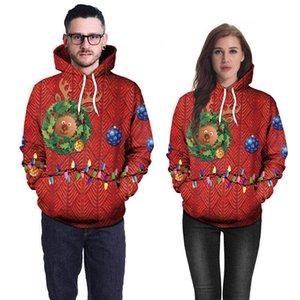 Laid Chandails de Noël pour les femmes Reindeer amant Sweats à capuche Sweats Automne Hiver Noël Père Noël Couples Streetwear unisexe chaud chérie costume