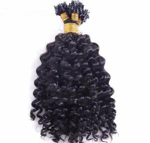 Grado Superior brasileño humano 14-26 '' Micro Loop Hair 1g / s 300s 300g Lot deep curl Extensiones 1b # natural color negro Loop Hair, DHL Libre
