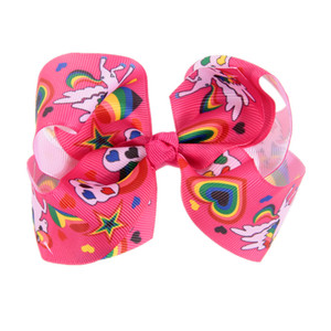 High Quality 22 Colors unicorn 11cm Rainbow bubble knot Hair Bow With Clip Girls Big Solid Bow Hair Clips Accessories