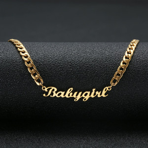 """Precioso regalo color oro """"Babygirl"""" de acero inoxidable Nombre Collar Gargantilla de escritura a mano la placa de identificación del collar de la firma para niñas"""