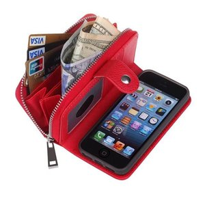 Luxury Handbag Zipper Wallet Case For Iphone 5 5s Se Leather Flip Pouch Detachable Back Cover Case For Apple Iphone Se  5  5s