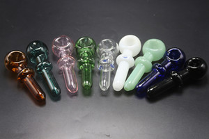 Multi-colors Glass Spoon Pipes 11.5cm Length 30G 40mm Bowl Diameter Glass Hand Pipes Dry Herb Smoking Pipes