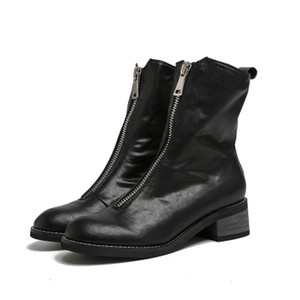 2018 bottes de mode hiver bottes en cuir Chevalier pour dames talon milieu des bottes mi mollet avec zip