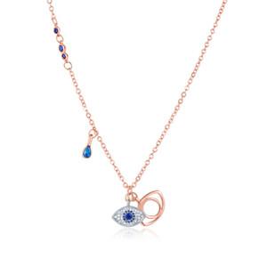Evil Eye Anhänger Halskette für Frauen Blue Eye-Kristallanhänger Rose Goldkette Halskette Modeschmuck