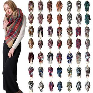 Écharpe Pashmina plaid 140 * 140cm Scarf tartan surdimensionné 28 styles enveloppant châle carré Tassel Foulards Couverture chaude OOA5494