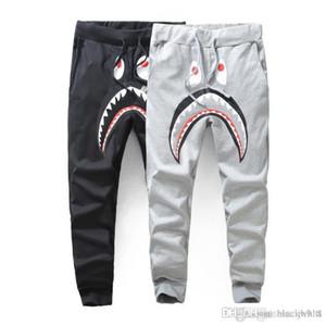 Men Black Grey Shark Pants Trousers Fashion Harem Pants Autumn Winter Fleece Sportswear Long Trousers Jogger Running Sweatpant