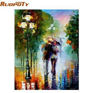 RUOPOTY кадр романтический любовник DIY живопись by Numbers комплекты раскраски по номеру домашнего декора стены для гостиной искусства 40x50