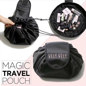 New Vely Vely Lazy Cosmetic Bag Drawstring Wash Bag Makeup Storage Travel Pouch Magic Toiletry Bag Free Shipping