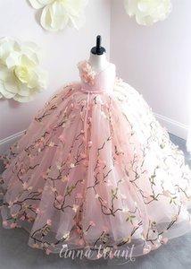 Pink Flower Girl Dresses 2019 3D Floral Princess Little Girls Festa di compleanno Abiti formali Sweep Train vestidos primera comunion para ninas