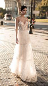 Gali Karten 2019 Wedding Dresses Bridal Gowns Lace Applique Bohemian Spaghetti Straps V-Neck Backless Floor Length