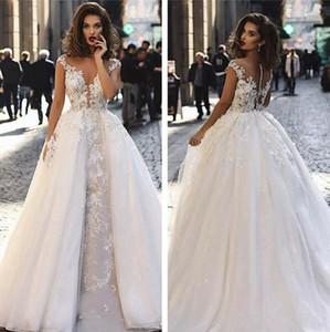 분리 기차 Appliqued 보헤미안 A 라인 웨딩 신부 드레스와 사용자 정의 캡 슬리브 레이스 웨딩 드레스 2020