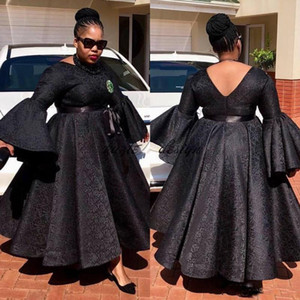 Aso Ebi Plus Size Prom Vestidos Lace Ball Gown tobillo Largo Evening Party Dress exy Sudáfrica Long Sleeve Jewel Neck Vestido de noche barato