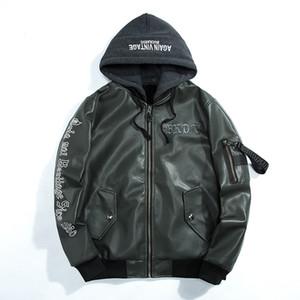 Erkek kapşonlu Kış Yeni stil nakış Makinesi araba Deri konfeksiyon erkek kap Hava Kuvvetleri pilot ceket Beyzbol ceket