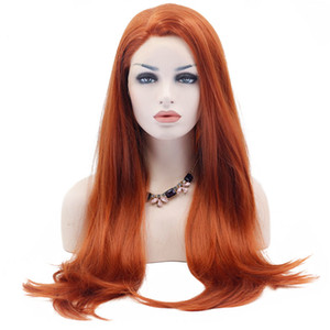 Orange Lace Front Wigs chaleur fibre synthétique résistant à long naturel Droit naturel synthétique Hairline cheveux orange perruque pour les femmes blanches