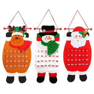 Yeni Varış Kalendar Nonwoven Kumaş Noel Baba Kardan Adam Geyik Takvim Için Merry Christmas Ağacı Süslemeleri Kolye Sevimli 20tf BB