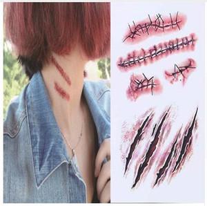 Nueva etiqueta engomada del tatuaje temporal a prueba de agua Halloween Terror Wound Props Lesión de sangre realista Scar Fake Tattoo Stickers