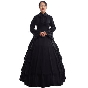Retro Kadınlar Gotik Ortaçağ Flounces Reenactment Kostüm Elbise Vintage Victoria Karnaval Parti Siyah Balo Elbise