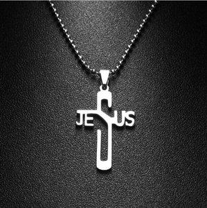 المجوهرات JESUS CROSS الأزياء قلادة قلادة مجوهرات الفولاذ المقاوم للصدأ سلسلة المسيحي رمز نيس هدية عالية الجودة