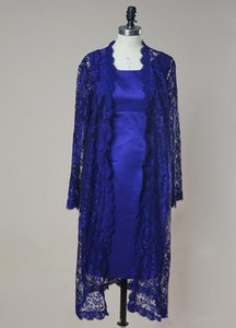 Royal Blue Mother of the Bride Dress with Lace Jacket Long Sleeve Sheath Knee Length Short Women Formal Gowns Custom Size