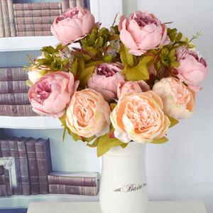 13 teste Peonia artificiale Fiore di seta artificiale decorazione della casa Autunno europeo Peonia vivida Falso Foglia Decorazione di cerimonia nuziale