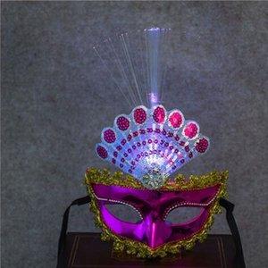 2018 neue Peacock LED Flashing Fiber Maske Frauen Mädchen Prinzessin Maskerade Glow Masken Tanz Leistung Halloween Party Supplies