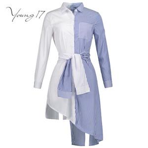 Young17 automne chemisier femme chemise rayée patchwork manches longues bouton blanc bleu beauté sexy cool wrap 2017 nouvelle fille chemise chemisier